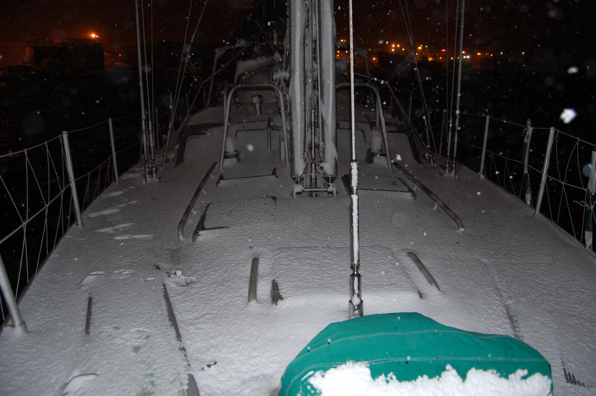 Snow on deck